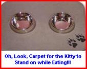 Matworks Logo Floor Mats for Kitty Cats when they eat.