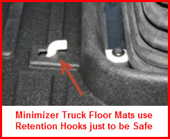 Minimizer Truck Floor Mats are manufactured from a durable thermoplastic and use retention hooks to secure the mat
