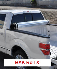 BAK Roll-X is a hard, rolling tonneau cover made of aircraft grade aluminum slats coated with vinyl. It supports 400 lbs on top.