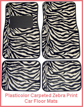 Plasticolor Zebra Logo Carpeted Car Floor Mat
