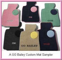 Custom Car Mats from GG Bailey come in thousands of colors, including pink and purple. Logos and monogram lettering are also available. Best of all you can customize your car mats online!