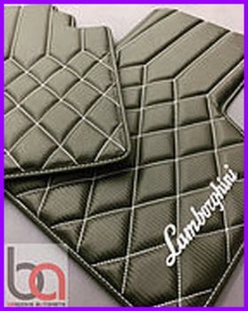 Bespoke AutoMats manufactures hybrid leather (leather blended with PVC) car mats. Notice the mixed diamond and panel design.