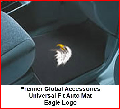 Premier Global Accessories Universal Fit Auto Mats with an Eagle Logo embroidered thereon