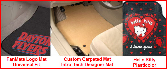 Carpeted Car Mats in Universal and Custom Fit designs. Logos and embroidery. Heavyweight, luxurious carpet with rubber non-slip backing.