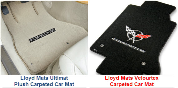 Lloyd Mats Ultimat and Velourtex custom fit carpeted mats with plush carpet, TractionBac rubber backing, lots of colors and many different automobile logos.