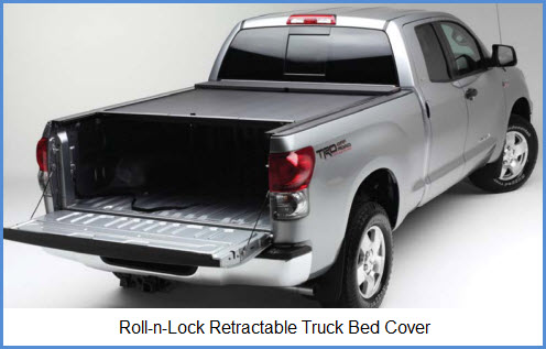 Roll n Lock Truck Bed Cover. This tonneau cover use aluminum slats bonded to vinyl for strength and durability.