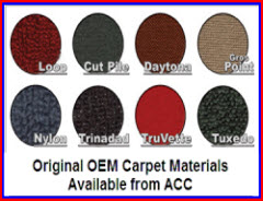 ACC manufactures original style OEM carpeting for cars and pickups dating back to the 1940's. Used by many in the car restoration business.