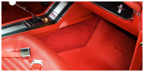 ACC Red Mustang Carpeting and Matching Car Mat with Mustang(Ford) Licensed Logo.
