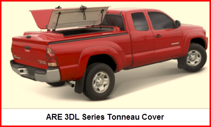 ARE 3DL Series Tonneau Cover with butterfly wing like side opening doors. This tonneau cover also opens from the rear.
