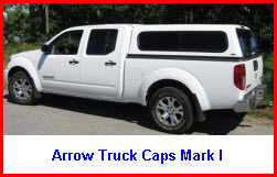 Arrow Truck Canopy Mark I. Pickup truck cap in a cab high design.