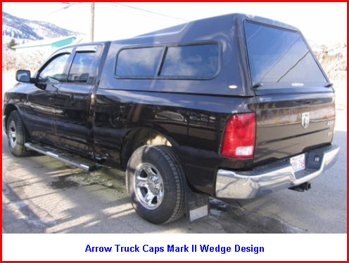 Arrow Truck Caps Mark II Wedge design. Pickup truck canopy.
