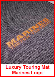 Avery's Luxury Touring Carpeted Car Mat with the Marines Logo sewn on. Available for cars, pickups, SUV, golf carts, minivans.