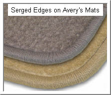 verys Car Floor Mat with Serged Edges.