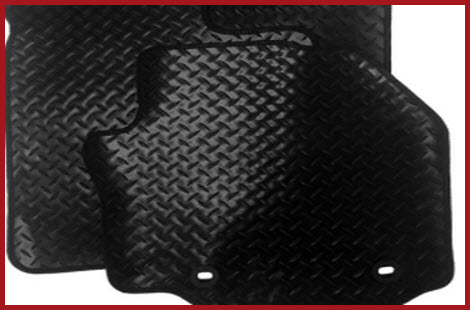 Heavy duty checker plate design is used in the Car Mats King Rubber Car Floor Mat product. Notice the grommets used to support your vehicles existing mat retention system.