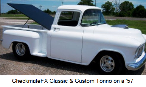 CheckMateFX Tonneau Cover is a hard fiberglass lid that is near watertight.