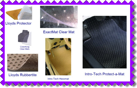 Clear car mats from Lloyd Mats, IntroTech, CoverKing and Exactmats. Hexomats, Protect a Mats, Crystal Clear Car Mats.