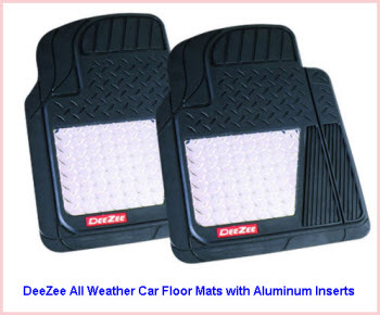 DeeZee All Weather Car Floor Mats with Aluminum Inserts in a diamond plate design. These Front Tread Mats are ideal for all weather use.