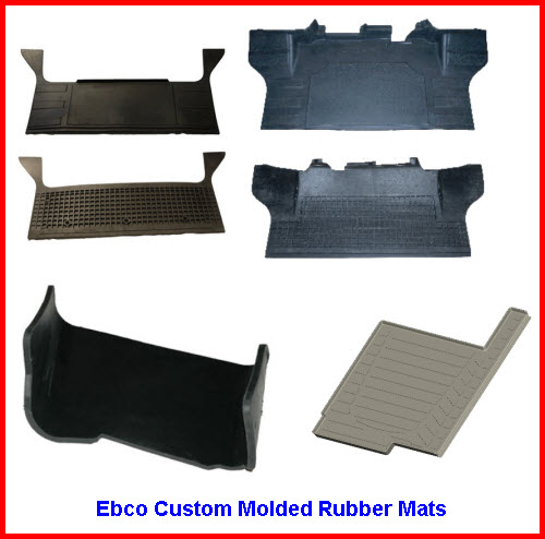 Ebco Rubber Mats usually custom designed in black rubber with optional color logos