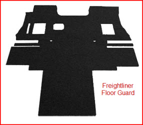 FreightLiner Floor Guards from Class 8 Products are pre-cut commercial carpeting to protect your big rigs floor.