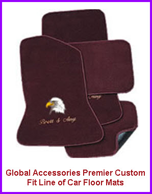 Global Accessories Custom Fit Car Floor Mats with Logos. This is the Global Accessories Premier Custom Fit line of car floor mats.