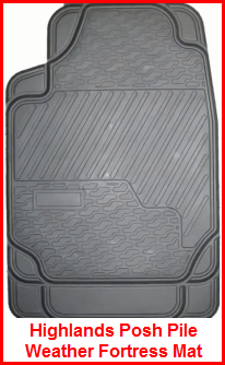 Highland distributes Posh Pile Weather Fortress Rubber Car Floor Mats. Rubber nib backing, traps water, dirt and gunk. Grey, Black and Tan. Tick, heavy, durable.