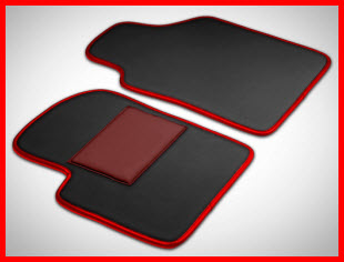 InPelles Exotic Leather Car Mats with Moon Finish, Red Edging and Heel Pad.