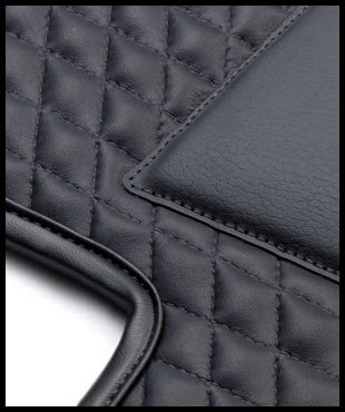 Inpelle Leather Car Mats are waterproof, resistant to dirt and very durable. This mat is deep black, with deep black binding and a deep black heel pad.