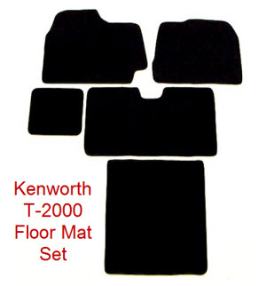 Kenworth T-2000 Floor Mat Set. Carpeted truck floor mats made from nylon carpeting and heavy rubber nibbed backing to prevent slippage.