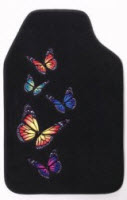 Kraco Distributes Auto Expressions Flutter ( Butterfly ) line ofcar floor mats made from carpet with embossed colorful butterflies.