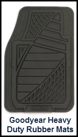Kraco distributes Goodyear Heavy Duty Rubber Car Floor Mats with nibbed backing, raised heel pads and deep pockets to trap water and dirt.