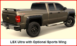 ARE LSX Ultra Tonneau Cover with the optional Sports Wing Installed.