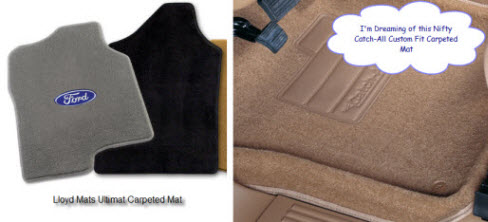 Lloyd Mats Ultimat (on the left) and a Lundy (nifty) Catch All are great examples of custom car mats.