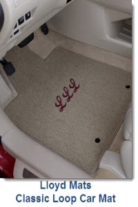 LloydMats Classic Loop Carpeted Car mat is economical, custom fit with lots of colors, logos. Long wearing, durable, polypropylene yarn with non-skid backing.