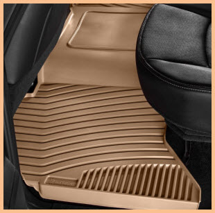 Michelin EdgeLiner Truck Floor Liner for the back seat area. Tan color, deep channels to keep feet dry and clean, and a soft rubber like touch and feel.