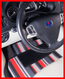 Natural Auto Products Furstil Stripes Car Mat. A colorful high strength vinyl car mat that is waterproof and designed to take the weather.