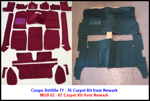 Newark Carpet Kit for 1971 to 1976 Cadillac Coupe DeVille. Newark carpet kit for 1962 to 1967 MGB.