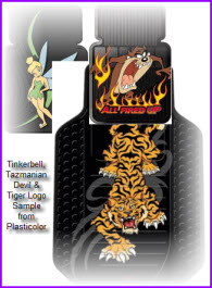 Sample Plasticolor Logos for truck and car floor mats. Plasticolor has a sizable selection of cartoon and comic characters.