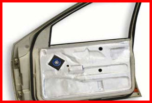 Tru-Fit Resomat Sound Deadener on the Door Decreases Noise and Vibration Throughout the Vehicle.