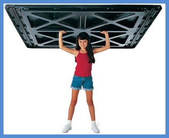 Some tonneau covers are so light that a child can lift them. In this pic a young lady lifts an Undercover tonneau cover that weighs in at almost the same weight as she does!