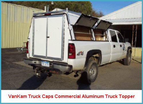 VanKam Truck Caps Commercial Aluminum Truck Cap with Double Rear Cargo Doors