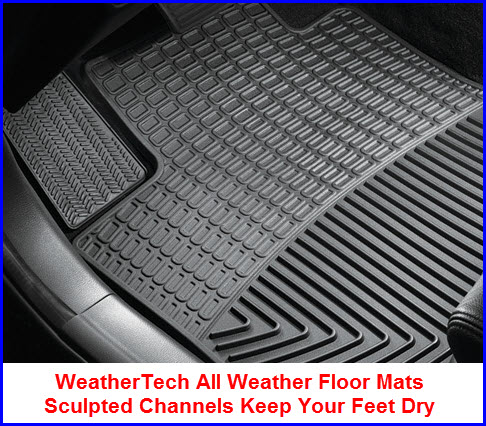 WeatherTech All Weather Car Floor Mats use Sculpted Channels to keep water, dirt, mud and other kinds of gunk off your shoes and the floor.