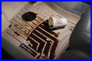 WeatherTech Digital FloorLiner is doing its job - keeping coffee off your vehicles floor.
