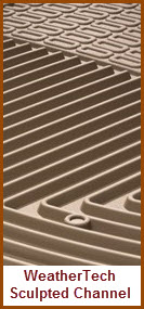 WeatherTech All Weather Car Mats use Sculpted Channels to Direct Water and Mud and Gunk away from your Shoes and Off your Floor.