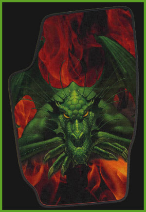 ZPV Car Floor Mat with Dragon Image. Mat is a rubber/carpet hybrid mat which is very durable and colorful.