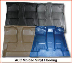 ACC Auto Custom Carpet Molded Vinyl Flooring protects your floor pan from dirt and moisture and provides a great base for other flooring improvements.