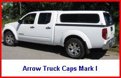 Arrow Truck Canopy Mark I. Pickup truck cap in a cab high design.