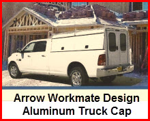 Arrow Workmate Model. Aluminum truck cap / camper shell for heavy duty use.