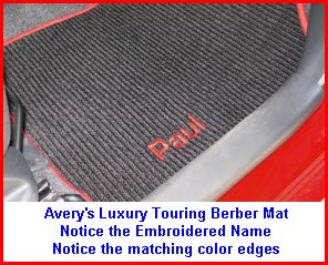 Averys Berber Mat Luxury Touring Mat with Embroidered Name and Matching Color Edges.