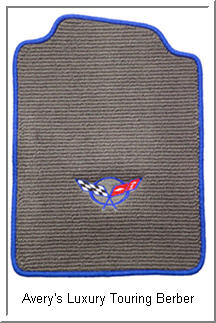 Avery Luxury Touring Berber Car Floor Mats with a Flag Logo.
