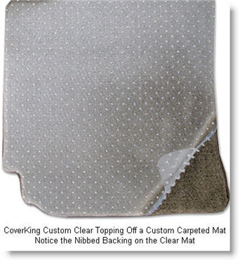 CoverKing Custom Clear Mat Over Custom Carpeted Mat.